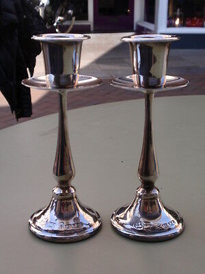 Vintage Pair Silver Plate Plated Candlesticks
