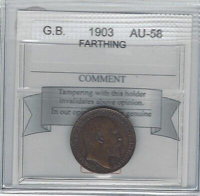 **1903**Great Britain, Farthing, Coin Mart Graded **AU-58**