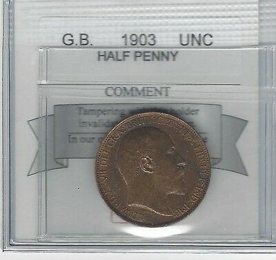 **1903**Great Britain, Half Penny, Coin Mart Graded **UNC**