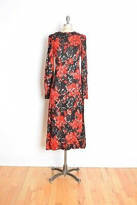 vintage 70s dress red black metallic floral print maxi hostess gown dress M