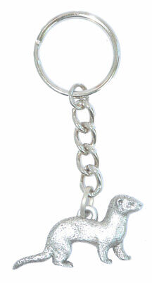 Ferret Keychain Silver Pewter Key Chain Ring
