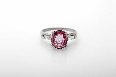 Antique $12,000 2.62ct Natural Certified Pink Sapphire Diamond Platinum Ring