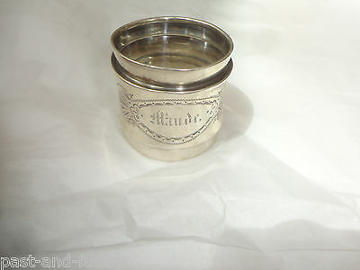 "Coin Silver Napkin Ring Engraved Name Of Maude,  1 5/8"" By 1 3/4"""