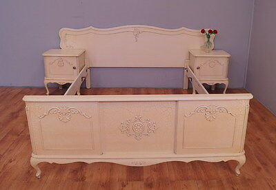 1694 !! Superb French Double Bed With Bedside Tables In Louis Xv Style !!