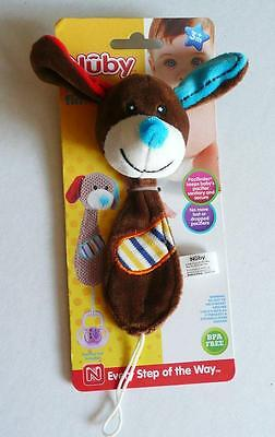 Nuby Plush Pacifinder Pacifier Holder Brown Plush Dog New Baby