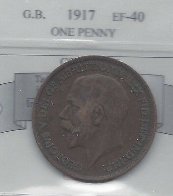 **1917**Great Britain, One Penny,  Coin Mart Graded**EF-40**