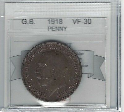 **1918**Great Britain, Penny, Coin Mart Graded **VF-30**