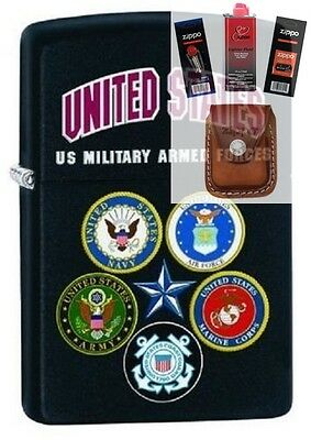 Zippo 28898 US Military Armed Forces Lighter + FUEL FLINT WICK POUCH GIFT SET