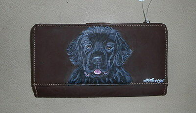 Newfoundland Dog Hand Painted Ladies Designer Leather Wallet