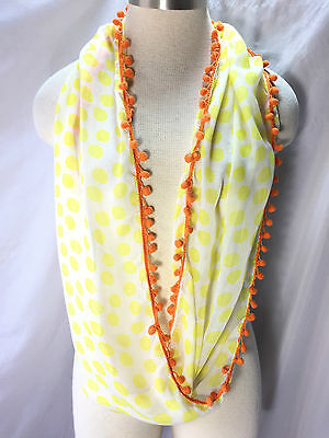 Tucker + Tate Girls White/Yellow Polka Dot Pom Pom Infinity Scarf