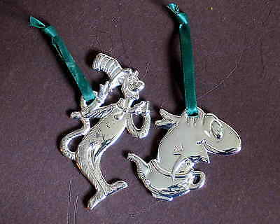 2 Dr Seuss Cat in Hat FISH IN DISH Christmas Ornaments Burger King 2003 FREE SH
