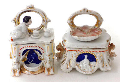 2 Old Fairing Trinket Boxes Fireplace w' Child Wash Stand Shell Basin