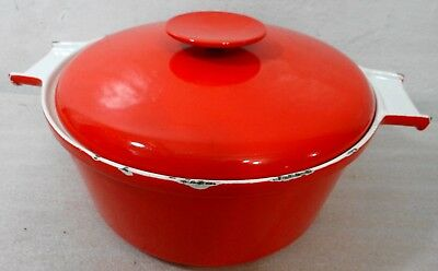 Copco Red White Cast Iron Enamel 4 Quart Dutch Oven with Lid 7014