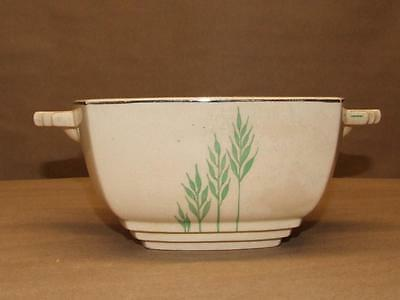"""VTG Antique Leigh Ware Green Wheat Pattern Leigh Potters China Handled Bowl 6.5"""""""