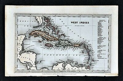 1834 Starling Miniature Map - West Indies - Cuba Antilles Jamaica Caribbean Sea