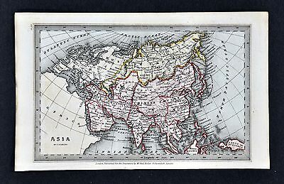 1834 Starling Miniature Map - Asia  China Japan Korea Birma India Arabia Siberia