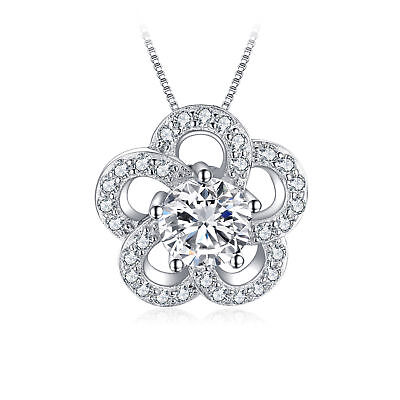 JewelryPalace 1.2ct Cubic Zirconia Flower Pendant Necklace 925 Sterling Silver