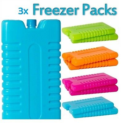 3x Pack Freezer Ice Blocks Travel cooler Bag Box Picnic Lunch Camping Reusable
