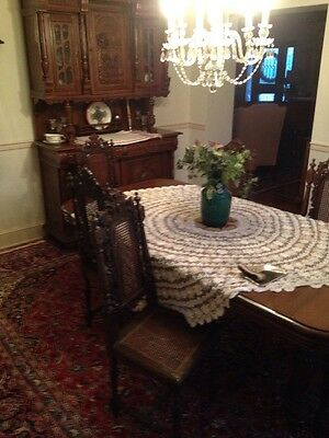 ANTIQUE DINING ROOM SET  perfect for a B&B / CARVED WOODEN WALNUT