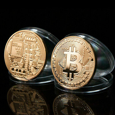 Silver Plated Bitcoin Coin Collectible Physical BTC Coin Art Collection w/ Case