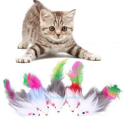 5PCS Soft Fleece False Mouse Cat Toys Colorful Feather Funny Playing Toys New