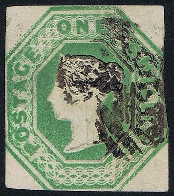 1847 1/- Embossed SG 55 1/- Green Fine Used Clear Profile Cat. £1000.00
