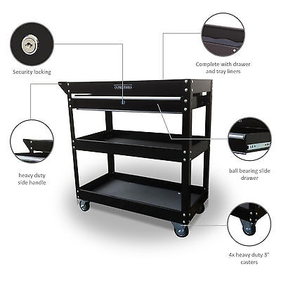 151 Us Pro Tools Tool Cart Trolley Workstaion Box Black