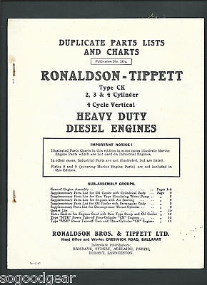 RONALDSON TIPPETT HEAVY DUTY DIESEL ENGINES ILLUSTRATED PARTS LISTS and CHARTS