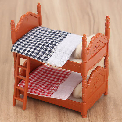 1:12 Scale Dollhouse Miniature Furniture Plastic Bunk Bed Bedroom Acessories