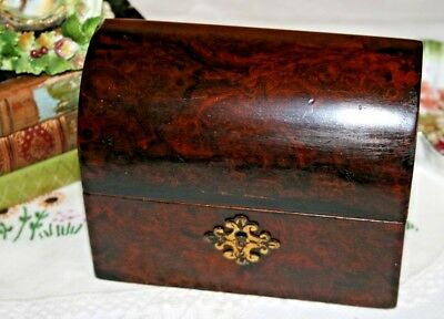 Antique Victorian/Georgian Walnut Wood Dome Topped Wooden Box Hinged Brass Lock