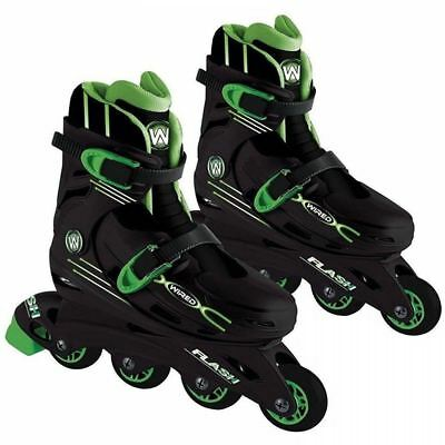 Wired Flash Inline Skates Kids Roller Boots Shoes Adjustable Size Junior 13-3