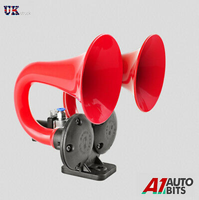 12V Super Loud 125db Twin Red Trumpet Air Horn Car Truck Van RV Bus Lorry Boat