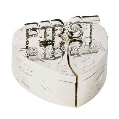 My First Tooth & Curl Silver Plated Heart Trinket Box Baby Keepsake Gift NEW
