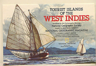 Vintage 1981 National Geographic Map of West Indies (d)