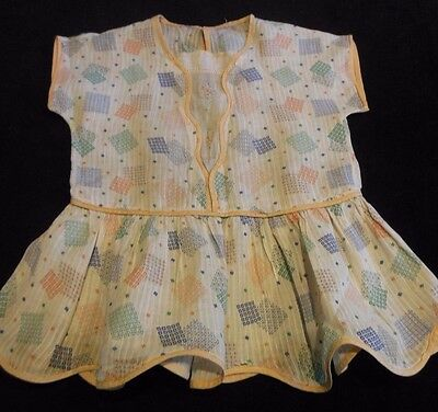 Vintage 1940's Childs Girls  Embroidered Dress Peach Blue Green Polka Dots