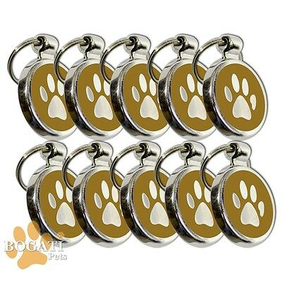 Pet Tag-10 Stainless Steel Brown Tags/Collar Charms with Small Paw Print Design