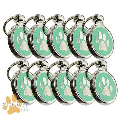Pet Tag-10 Stainless Steel Green Tags/Collar Charms with Small Paw Print Design