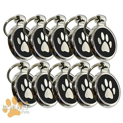 Pet Tag-10 Stainless Steel Black Tags/Collar Charms with Small Paw Print Design