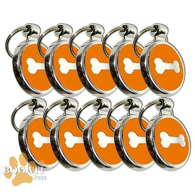 Pet Tag-10 Stainless Steel Orange Tags/Collar Charms with Small Silver Bone