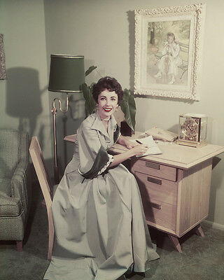 Elizabeth Taylor vintage candid portrait by writing desk 1940's 8x10 Photo