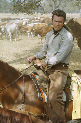 Rawhide Clint Eastwood seated on horseback during cattle ride 24x36 Poster