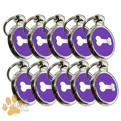 Pet Tag-10 Stainless Steel Purple Tags/Collar Charms with Small Silver Bone
