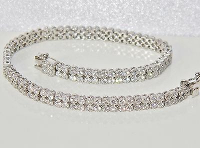 Beautiful Sterling Silver (925) 2.50ct Ladies Double Row Tennis Bracelet