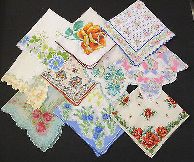 Lot of 10 Vintage Handkerchiefs Hankies ALL Florals Multi-Color VGC