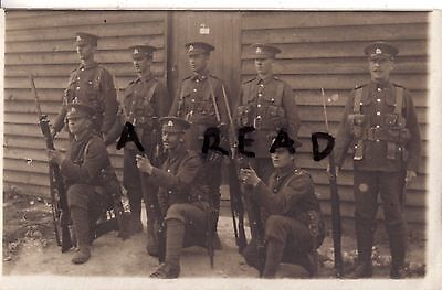 WW1 Soldier Group Royal Berkshire Regiment in battle order hutted camp