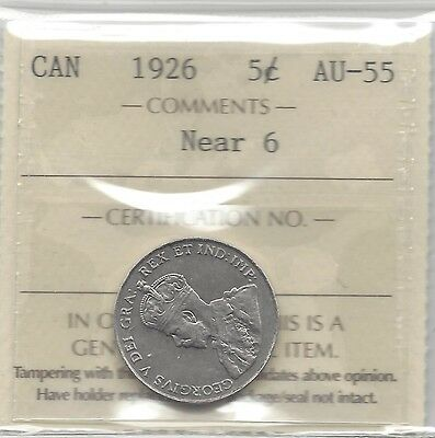 **1926 Near**,ICCS Graded Canadian, Five Cent, **AU-55**