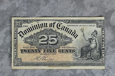 Dominion of Canada 1900 25 Cents Twenty Five Fractional Bill Note Boville