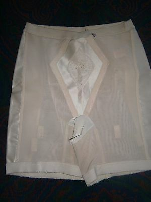 Vintage Alma White Girdle Side Satin Panels Back and front Panels Sz Xl