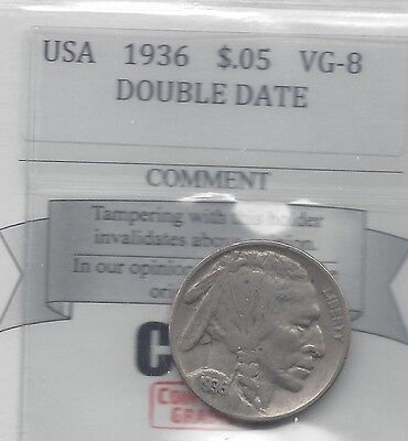 **1936** USA, Five Cent, Buffalo Nickel, Double Date