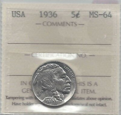 **1936** USA, Five Cent, Buffalo Nickel, ICCS Graded MS-64